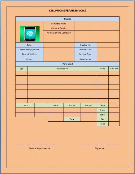 20 best cellphone repair invoice template images on pinterest cell phone repair invoice template