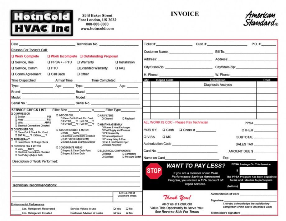 25 Images Of Heating And Air Conditioning Invoice Template Air