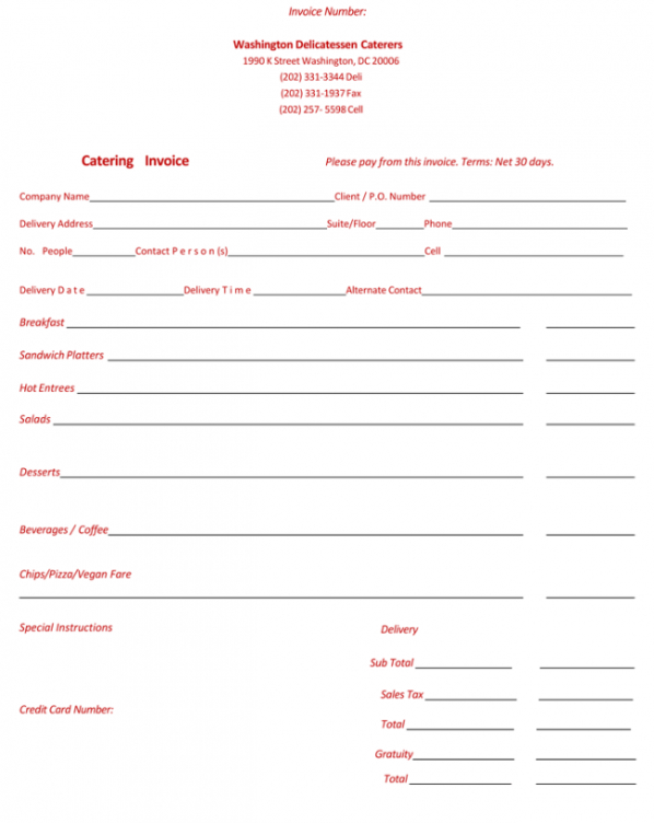5 best catering invoice templates for decorative business catering bill invoice template