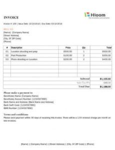 8 photography invoice templates photography billing invoice template