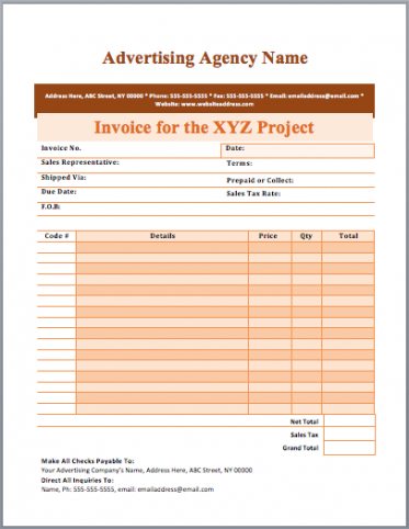 advertising invoice template advertising invoice template advertising agency invoice template