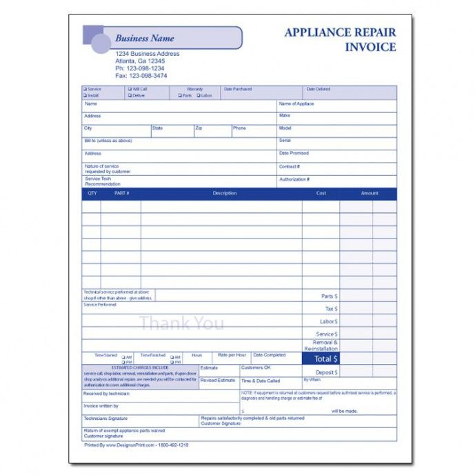 appliance repair form | designsnprint appliance repair invoice template