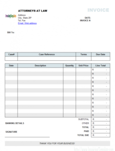 attorney invoice template (south africa currency) legal billing invoice template