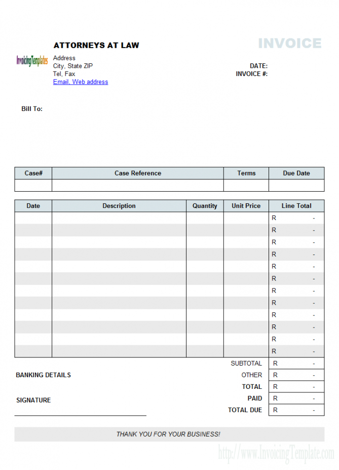 attorney invoice template south africa currency legal billing