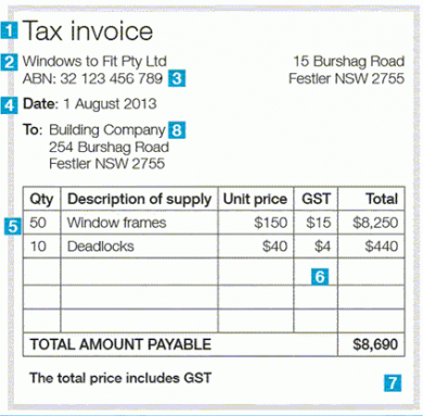 australian tax invoice template excel australian tax invoice australian tax invoice template