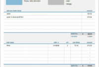 Auto Repair Invoice Template For Excel Blank Auto Repair Invoice Template