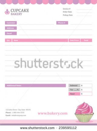 bakery invoice template stock vector hd (royalty free) 239595112 bakery invoice template