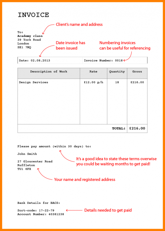 Bank Details Invoice Template - Invoice with bank details