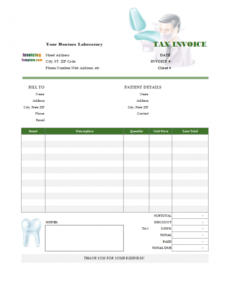 bill format for dental clinic and denture laboratory dental billing invoice template