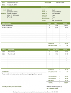 computer repair invoice | free template for excel computer repair invoice template