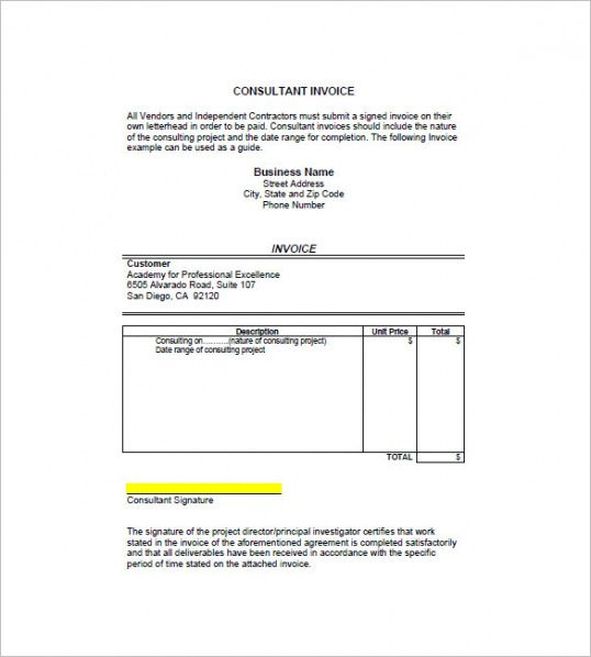 Consultant / Consulting Invoice Template – 7+ Free Word, Excel, Pdf ...