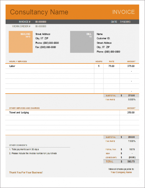 consultant invoice template for excel consultant billing invoice template