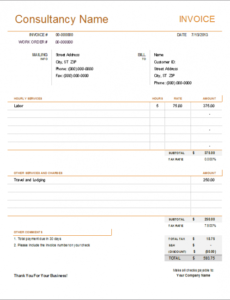 consultant invoice template for excel independent contractor billing invoice template