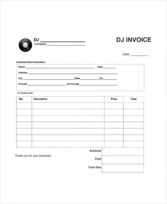 dj invoice template - 8+ free word, pdf documents download | free dj service invoice template