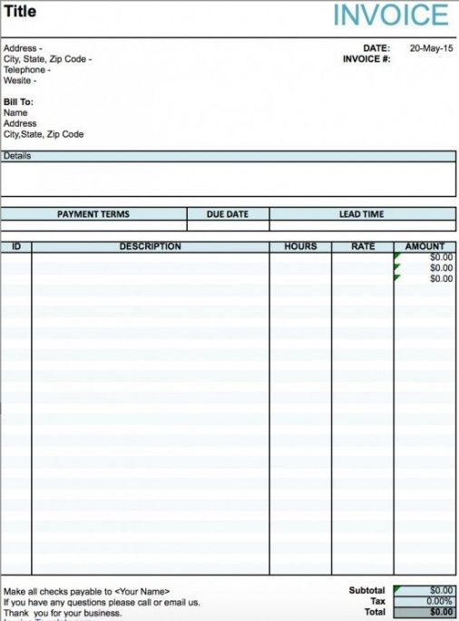 Free Artist Invoice Template Excel Pdf Word Doc Art