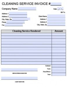 free house cleaning service invoice template | excel | pdf | word (.doc) cleaning company invoice template