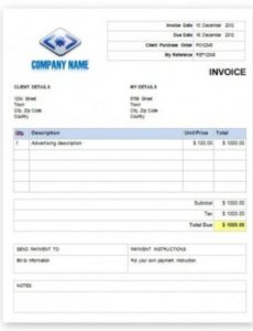 free invoice template with quantity and description advertising agency invoice template