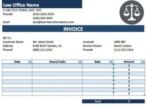 Free Legal Attorney Lawyer Invoice Template Excel Pdf Word