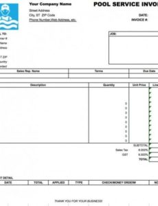 free pool service invoice template | excel | pdf | word (.doc) pool service invoice template