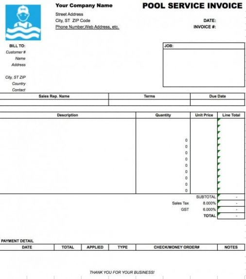 Free Pool Service Invoice Template Excel Pdf Word C Pool
