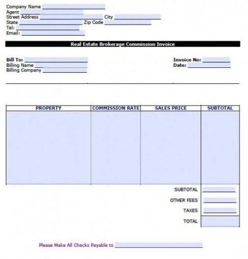 free real estate brokerage commission invoice template | excel | pdf real estate commission invoice template