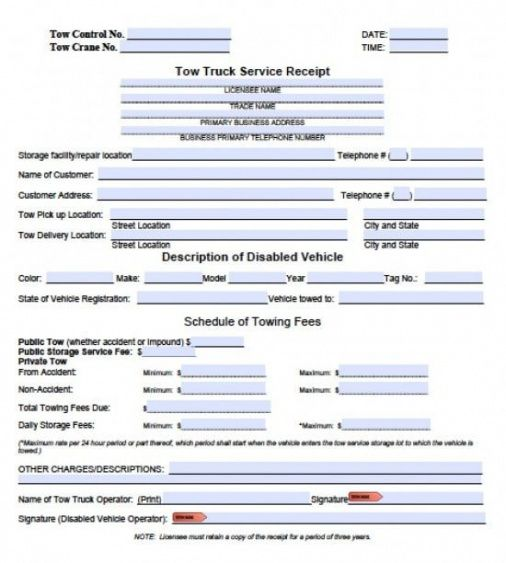 free tow service invoice template excel pdf word doc towing