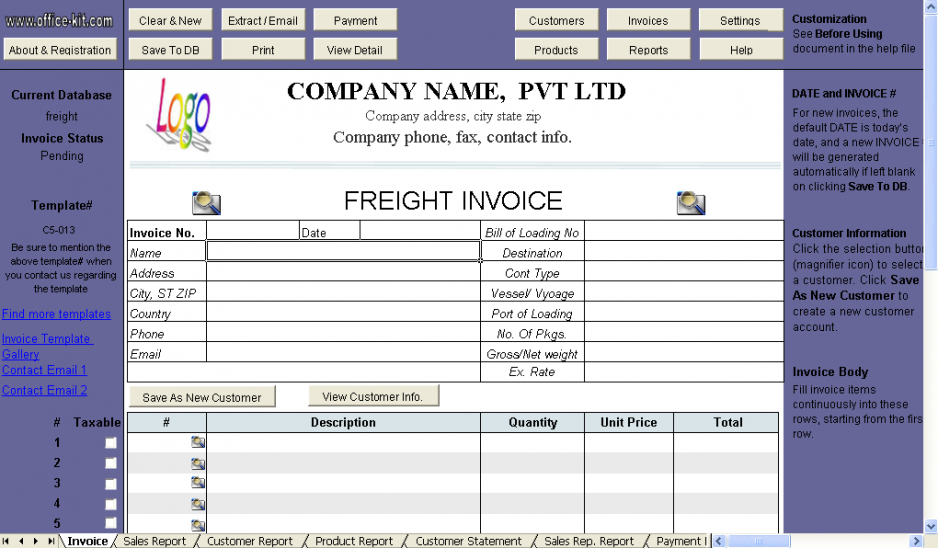 freight invoice template - uniform invoice software transport service invoice template