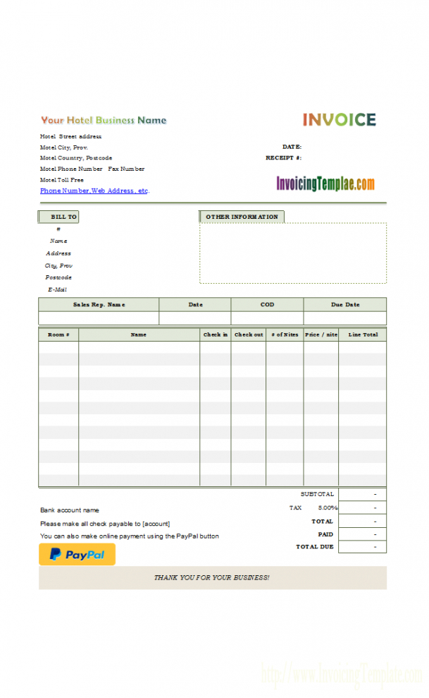 hotel bill format with online payment button hotel billing invoice