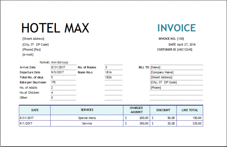 hotel invoice template | excel invoice templates hotel commission invoice template