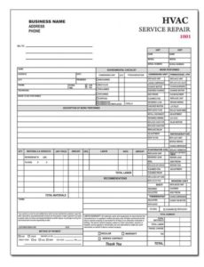 hvac contractor invoice form - custom form printing | designsnprint air conditioning repair invoice template