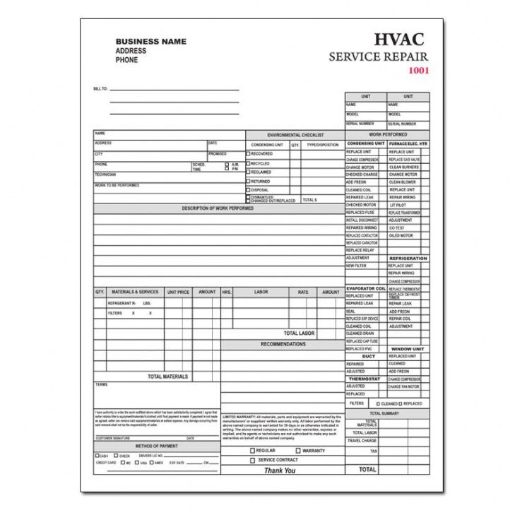Hvac Contractor Invoice Form Custom Form Printing Designsnprint - Hvac invoice printing