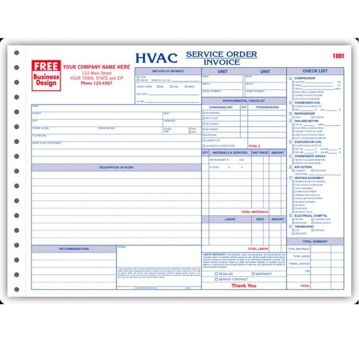 Hvac Contractor Invoice Form Custom Form Printing Designsnprint - Free hvac invoice template for service business