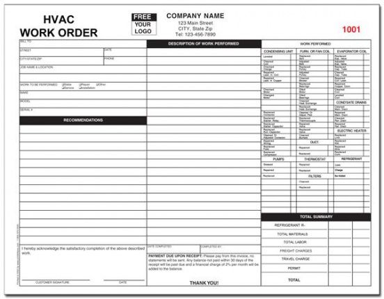 hvac service order invoice template – millbayventures air conditioning repair invoice template