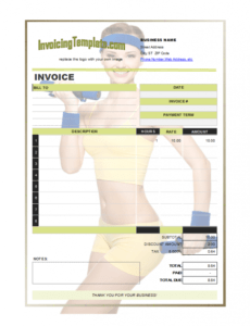 invoice design for personal trainer or fitness instructor yoga teacher invoice template