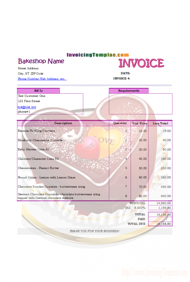Invoicing Format For Bakery And Cake Shop Bakery Invoice Template