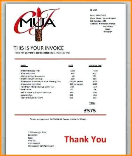 makeup invoice template  Make Up Invoice Sample Artist Invoice Makeup Artist Invoice Template ...