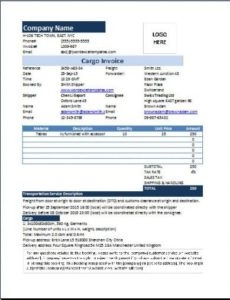 ms excel cargo invoice template | word & excel templates air freight invoice template