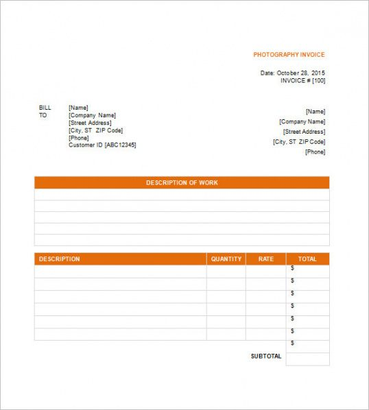photography billing invoice template