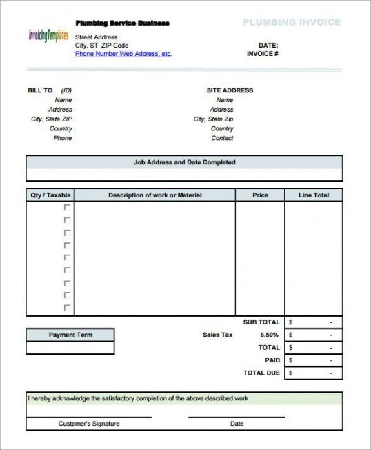 plumbing service invoice template with sales tax invoice template construction tax invoice template