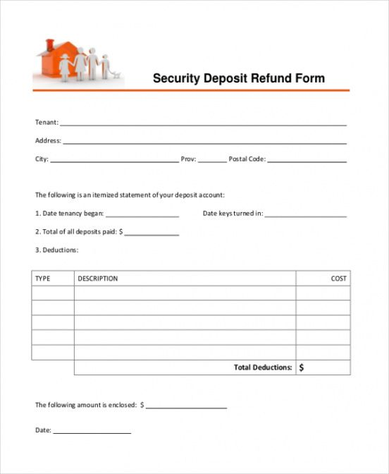 printable-free-tenant-security-deposit-refund-form security deposit refund invoice template