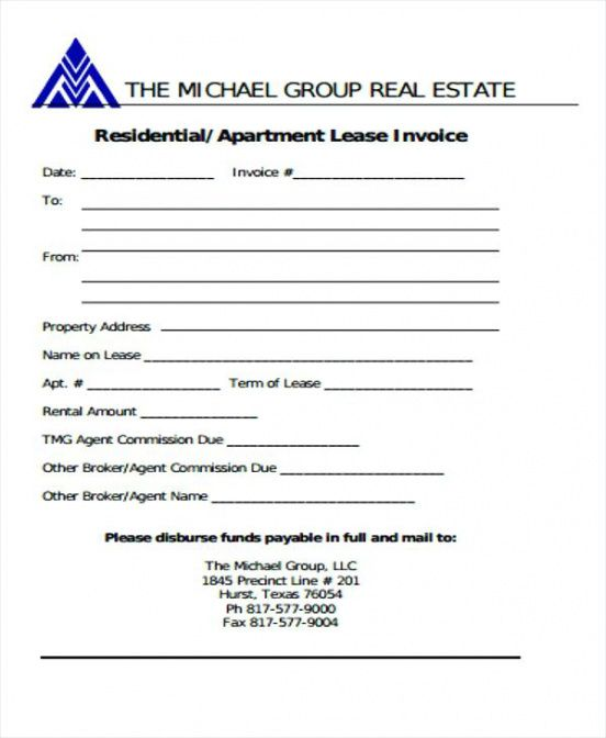 real estate commission invoice template  Real Estate Invoice Template Brokerage Invoice Real Estate Agent ...