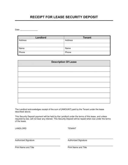 Receipt For Lease Security Deposit Template Sample Form Security