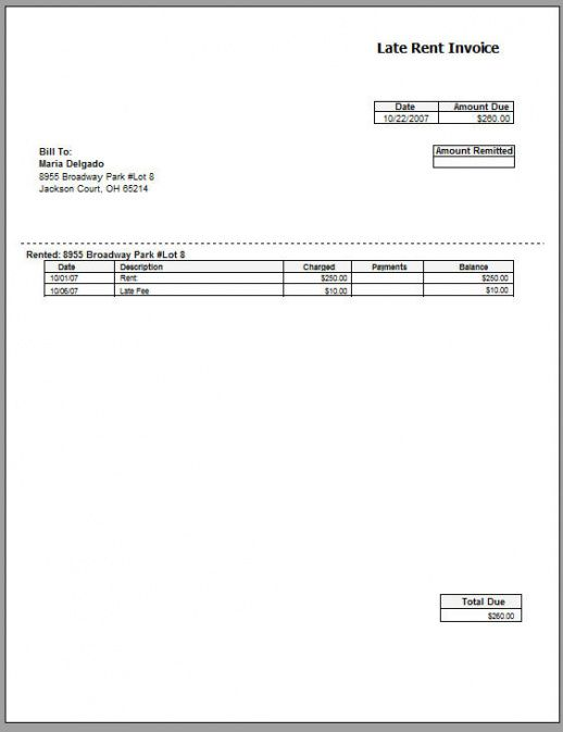 Rent Invoice Template Free Printable Invoice Commercial Property - Property invoice template