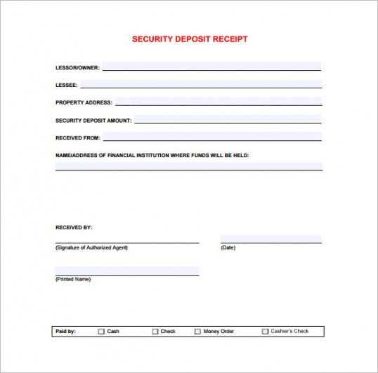 Security Deposit Receipt Receipt Template Doc For Word Documents - Deposit invoice template