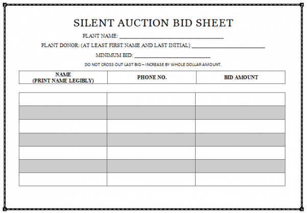 silent auction bid sheet templates idealvistalistco silent auction invoice template