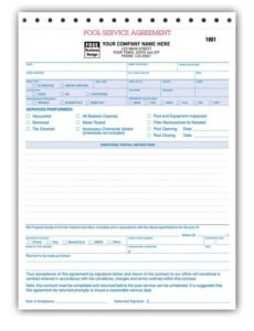 spa & pool business invoice forms - work order | designsnprint pool service invoice template