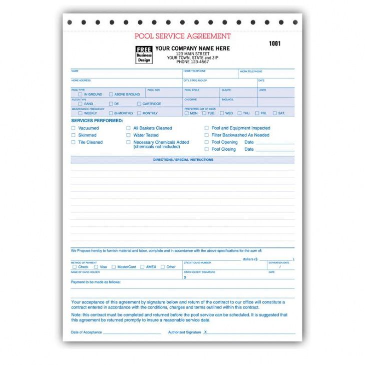 spa pool business invoice forms work order designsnprint pool service invoice template