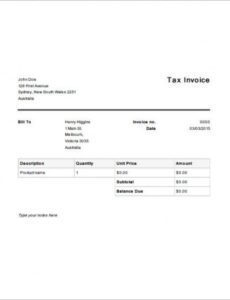 tax invoice templates - 16+ free word, excel, pdf format download free australian tax invoice template