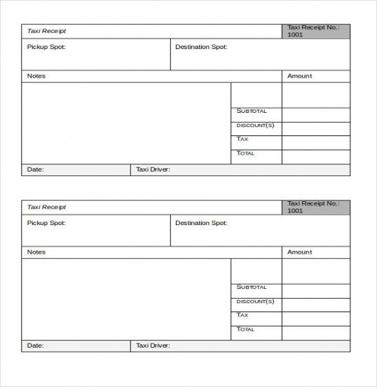 Taxi Receipt Template – 20+ Free Word, Excel, Pdf Format Download ...