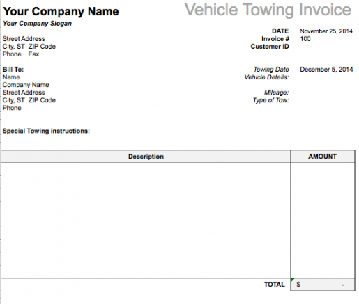 Vehicle Towing Invoice Template Free Invoice Templates Tow Truck - Tow truck invoice